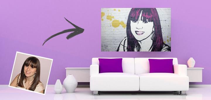 Pop Art Leinwand Banksy an der Wand mit Originalfoto vor Sofa