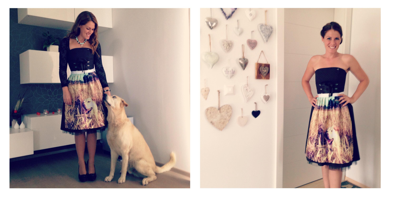 zwei Fotos von einer frau in Dirndl mit bedruckter Schuerze und Hund
