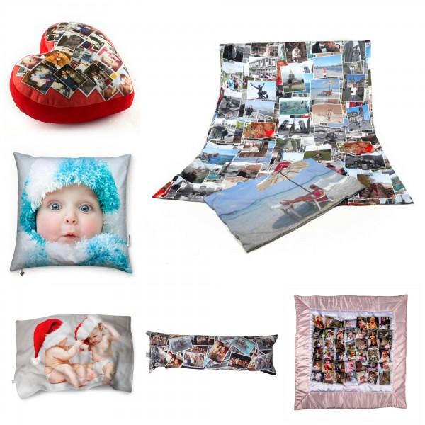 Collage mit bedruckter Bettwäsche, Kissen, Decken und Steppdecke