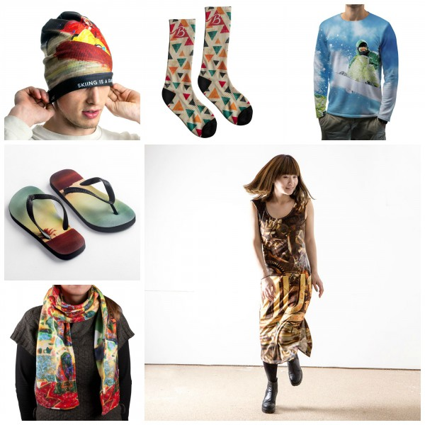 Collage aus verschiedenen bedruckten und genähten Kleidungsstücken von Originelle Fotogeschenke