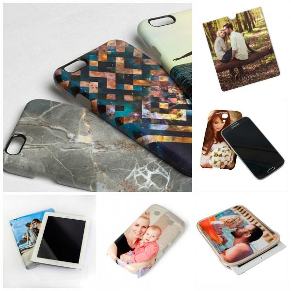 Mehrere Handyhüllen und Tablet Cases bedruckt mit eigenen Fotos