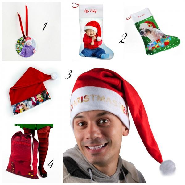 Collage aus Fotos mit Weihnachtsprodukten