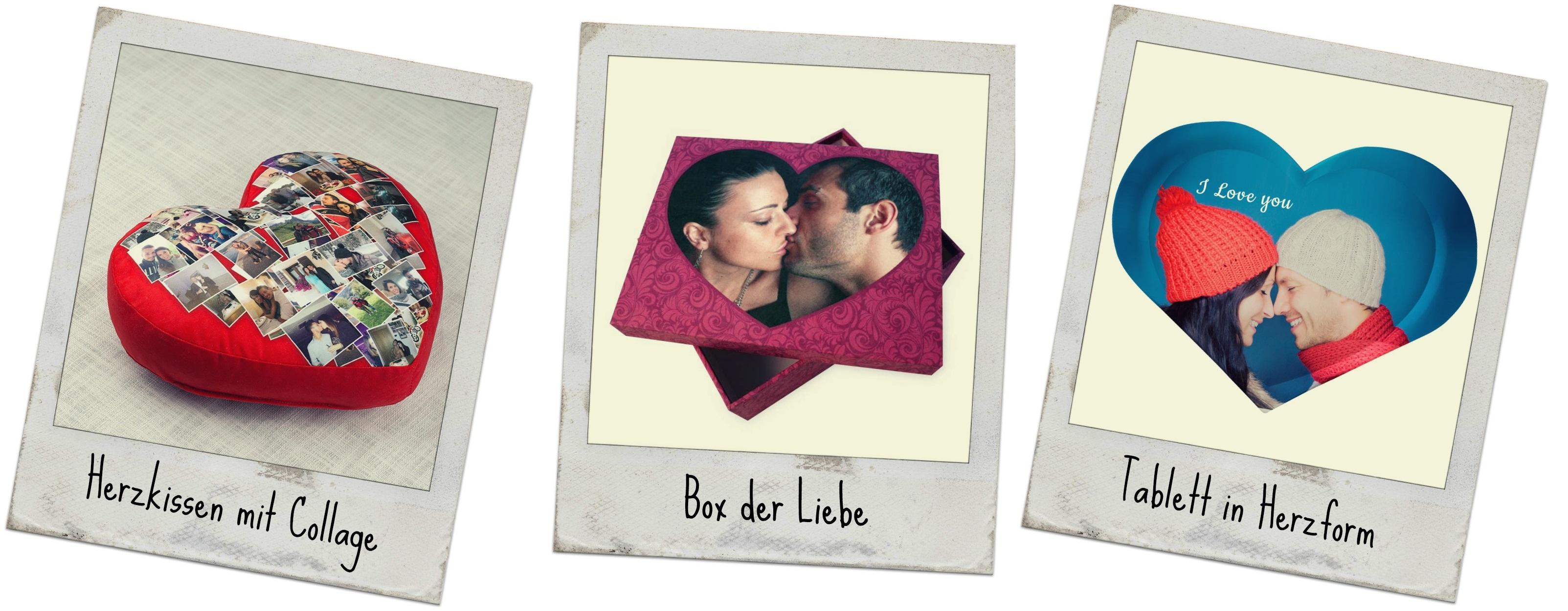Fotogeschenke in Herzform bedruckt mit Fotos von Paaren zum Valentinstag