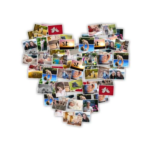 Herzförmige Fotocollage ohne Hintergrund