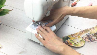 stoff wird zusammen genäht mit nähmaschine