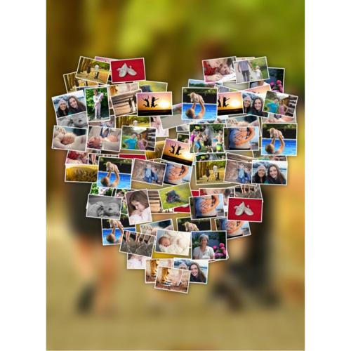 herzförmige Fotocollage mit Hintergrund