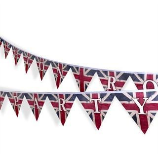Wimpelkette Union Jack und Text
